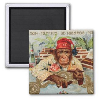 Retro Vintage Kitsch 30s Cigar El Ricolo Chimp 2 Inch Square Magnet