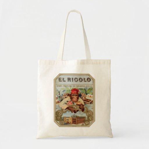 Retro Vintage Kitsch 30s Cigar El Ricolo Chimp Canvas Bags