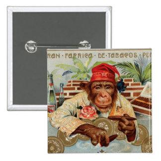 Retro Vintage Kitsch 30s Cigar El Ricolo Chimp Button
