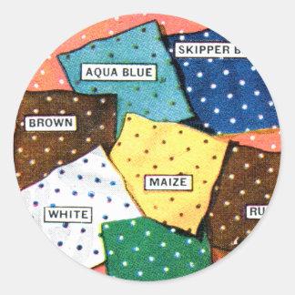 Retro Vintage Kitsch 30s Cloth Fabrics Polka Dot Classic Round Sticker