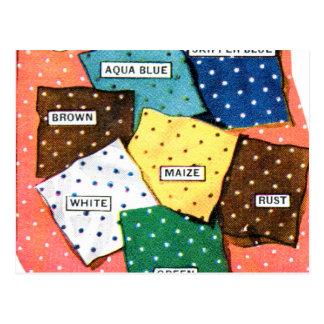 Retro Vintage Kitsch 30s Cloth Fabrics Polka Dot Postcard