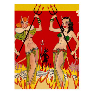 Retro Vintage Kitsch 30s Devilish Mermaid Pin Ups Postcard