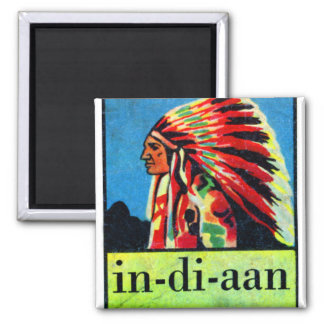 Retro Vintage Kitsch 30s Dutch Indian in-di-aan 2 Inch Square Magnet