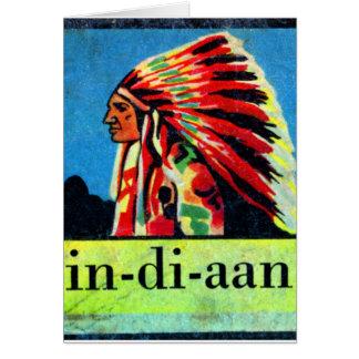 Retro Vintage Kitsch 30s Dutch Indian in-di-aan Card