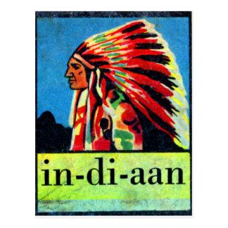 Retro Vintage Kitsch 30s Dutch Indian in-di-aan Postcard