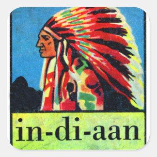 Retro Vintage Kitsch 30s Dutch Indian in-di-aan Square Sticker