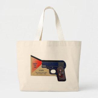 Retro Vintage Kitsch 30s Funeral Molasanti Pistol Large Tote Bag