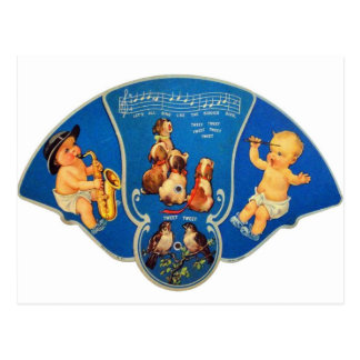 Retro Vintage Kitsch 30s Mucisal Babies Fan Postcards