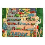 Retro Vintage Kitsch 30s Toy Arcade Cast Iron Toys Greeting Card