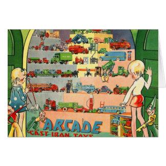 Retro Vintage Kitsch 30s Toy Arcade Cast Iron Toys Card