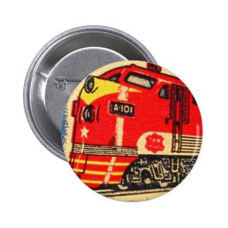 Retro Vintage Kitsch 30s Train Matchbook Art Pinback Button