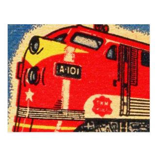 Retro Vintage Kitsch 30s Train Matchbook Art Postcard