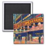 Retro Vintage Kitsch 40s Brass Rail New York Magnet