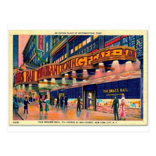 Retro Vintage Kitsch 40s Brass Rail New York Postcard
