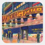Retro Vintage Kitsch 40s Brass Rail New York Square Stickers