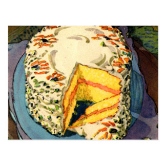 Retro Vintage Kitsch 40s Cake Art Two-Egg Cake Postcard