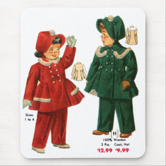Retro Vintage Kitsch 40s Catalog Kids Girls Coats Mouse Pad