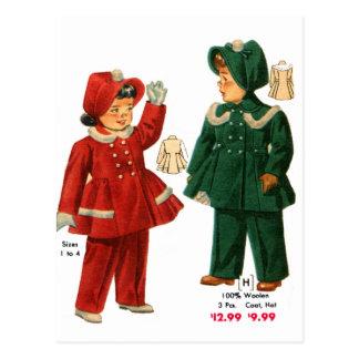 Retro Vintage Kitsch 40s Catalog Kids Girls Coats Postcard
