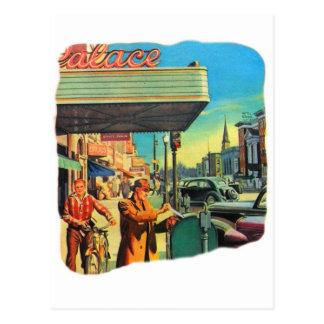 Retro Vintage Kitsch 40s Main Street 1940 Postcard