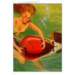 Retro Vintage Kitsch 40s Pulp Torpedo Caught! Greeting Card