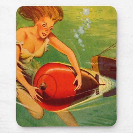 Retro Vintage Kitsch 40s Pulp Torpedo Caught! Mousepad
