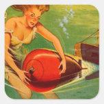 Retro Vintage Kitsch 40s Pulp Torpedo Caught! Square Sticker