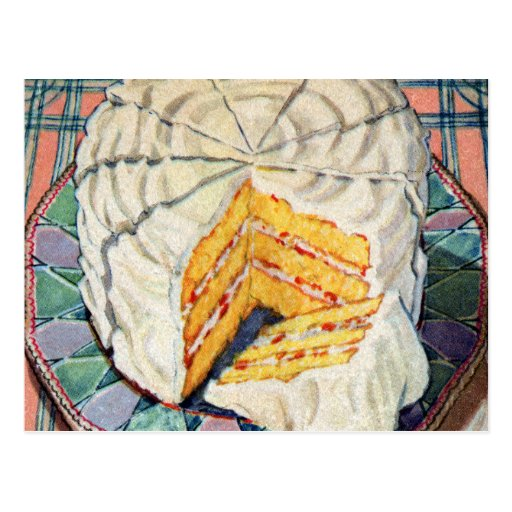 Retro Vintage Kitsch 40s Yellow Cake Illustration Post Cards