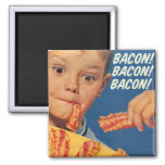 Retro Vintage Kitsch 50s Bacon, Bacon, Bacon! Ad 2 Inch Square Magnet