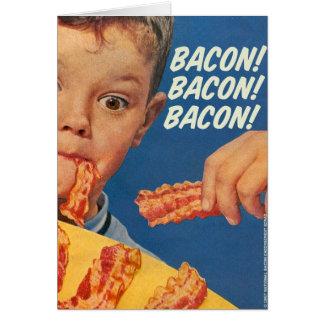 Retro Vintage Kitsch 50s Bacon, Bacon, Bacon! Ad Card