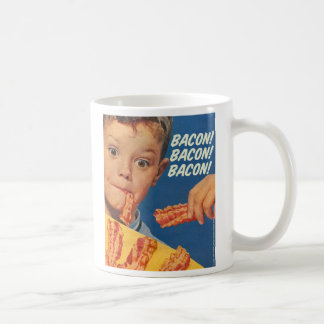 Retro Vintage Kitsch 50s Bacon, Bacon, Bacon! Ad Coffee Mug