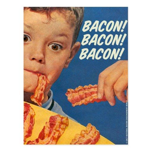 Retro Vintage Kitsch 50s Bacon, Bacon, Bacon! Ad Post Card
