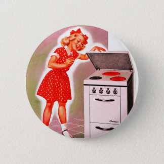 Retro Vintage Kitsch 50s Electric Range Girl Ad Button
