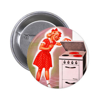 Retro Vintage Kitsch 50s Electric Range Girl Ad Buttons