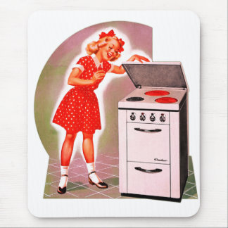 Retro Vintage Kitsch 50s Electric Range Girl Ad Mouse Pad