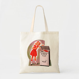 Retro Vintage Kitsch 50s Electric Range Girl Ad Tote Bag