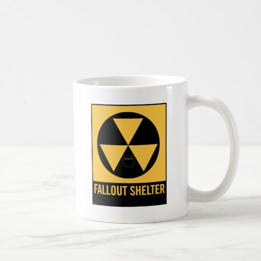 Retro Vintage Kitsch 50s Fallout Shelter Sign Coffee Mugs