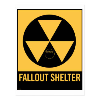 Retro Vintage Kitsch 50s Fallout Shelter Sign Postcard