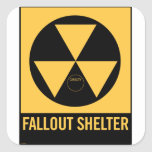 Retro Vintage Kitsch 50s Fallout Shelter Sign Square Stickers