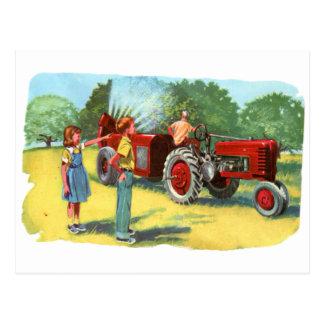 Retro Vintage Kitsch 50s Farm Kids Pesticide Spray Postcard
