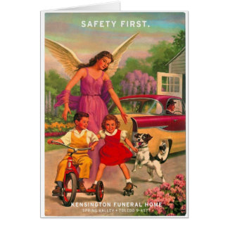 Retro Vintage Kitsch 50s Funeral Home Safety Card