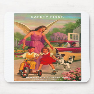 Retro Vintage Kitsch 50s Funeral Home Safety Card Mousepads