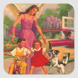 Retro Vintage Kitsch 50s Funeral Home Safety Card Square Sticker