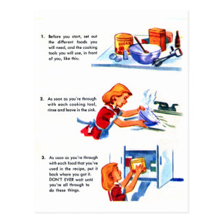 Retro Vintage Kitsch 50s Kids Recipe Cooking Tips Postcard