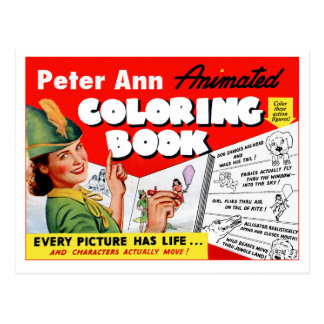 Retro Vintage Kitsch 50s Peter Ann Coloring Book Post Card