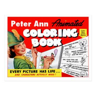 Retro Vintage Kitsch 50s Peter Ann Coloring Book Postcard