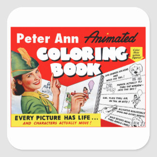 Retro Vintage Kitsch 50s Peter Ann Coloring Book Square Sticker