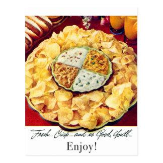 Retro Vintage Kitsch 50s Potato Chips & Dip Postcard