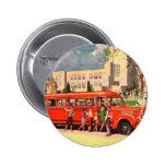 Retro Vintage Kitsch 50s School Kid Red School Bus 2 Inch Round Button