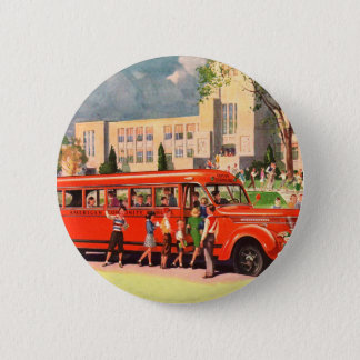 Retro Vintage Kitsch 50s School Kid Red School Bus Button