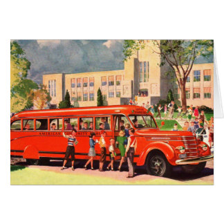 Retro Vintage Kitsch 50s School Kid Red School Bus Card